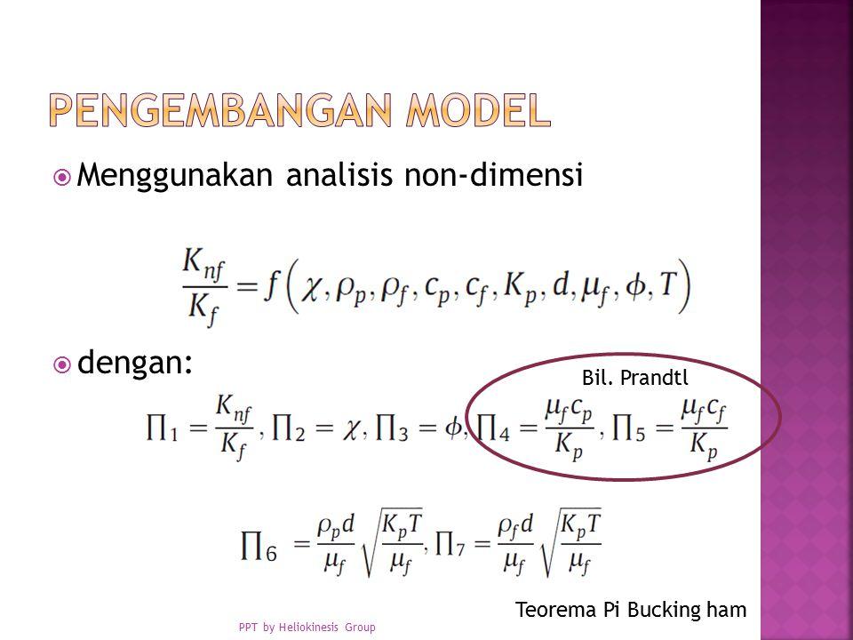  Menggunakan analisis non-dimensi  dengan: Teorema Pi Bucking ham Bil.