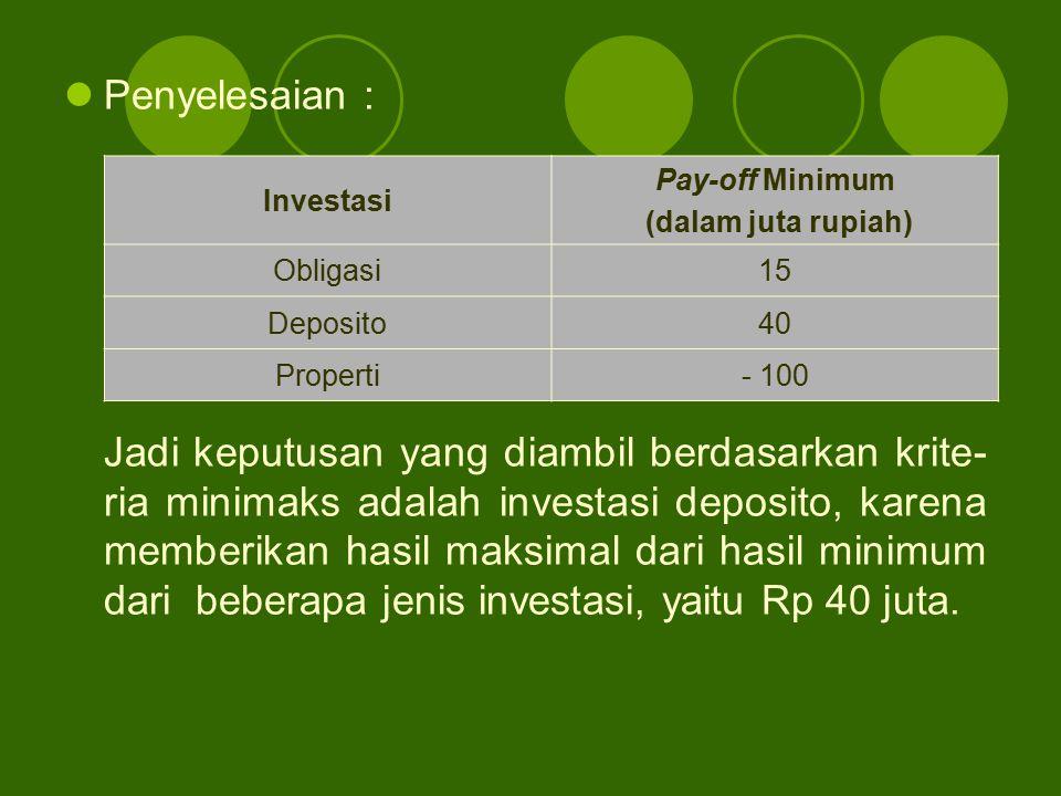 Penyelesaian : Jadi keputusan yang diambil berdasarkan krite- ria minimaks adalah investasi deposito, karena memberikan hasil maksimal dari hasil mini