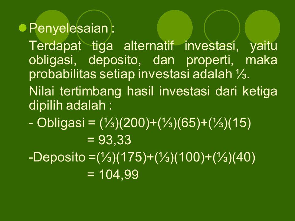 Penyelesaian : Terdapat tiga alternatif investasi, yaitu obligasi, deposito, dan properti, maka probabilitas setiap investasi adalah ⅓. Nilai tertimba