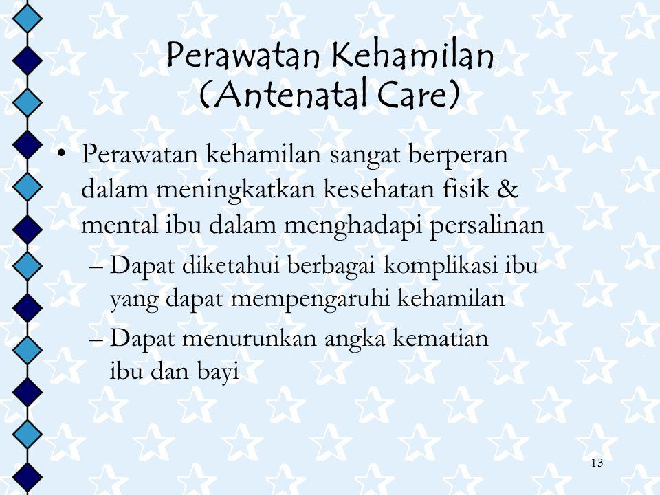 13 Perawatan Kehamilan (Antenatal Care) Perawatan kehamilan sangat berperan dalam meningkatkan kesehatan fisik & mental ibu dalam menghadapi persalina
