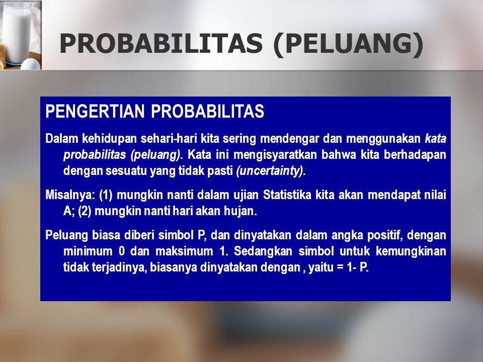 PROBABILITAS (PELUANG) PENGERTIAN PROBABILITAS Dalam kehidupan sehari-hari kita sering mendengar dan menggunakan kata probabilitas (peluang). Kata ini