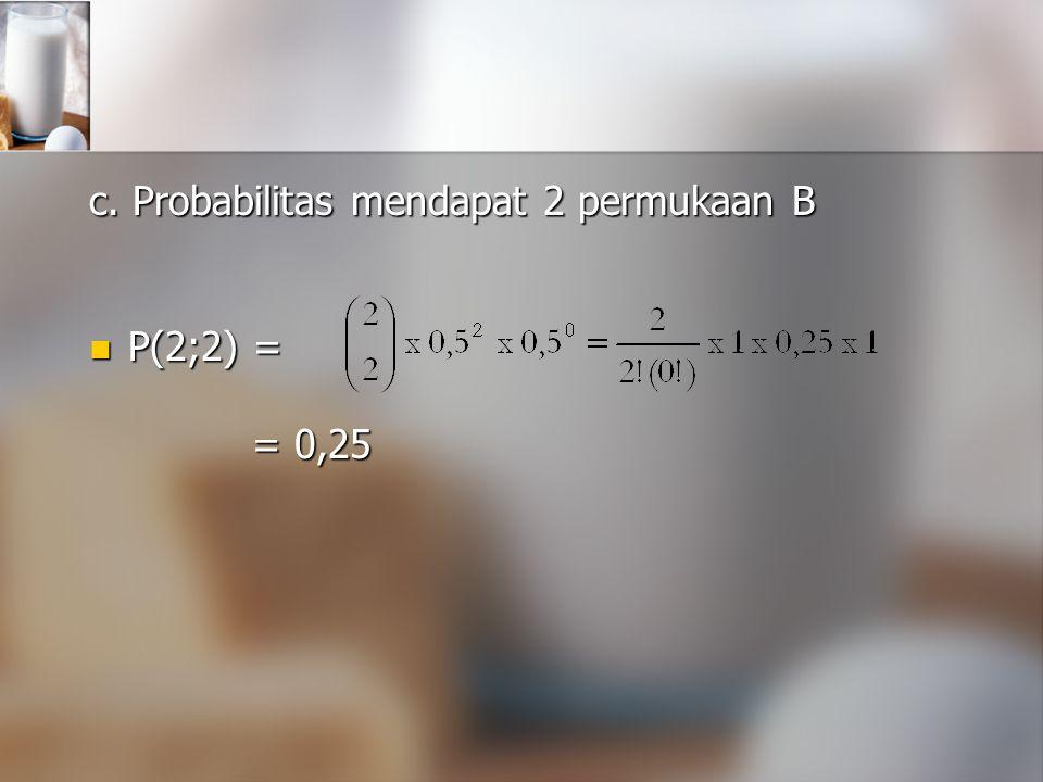 c. Probabilitas mendapat 2 permukaan B P(2;2) = P(2;2) = = 0,25