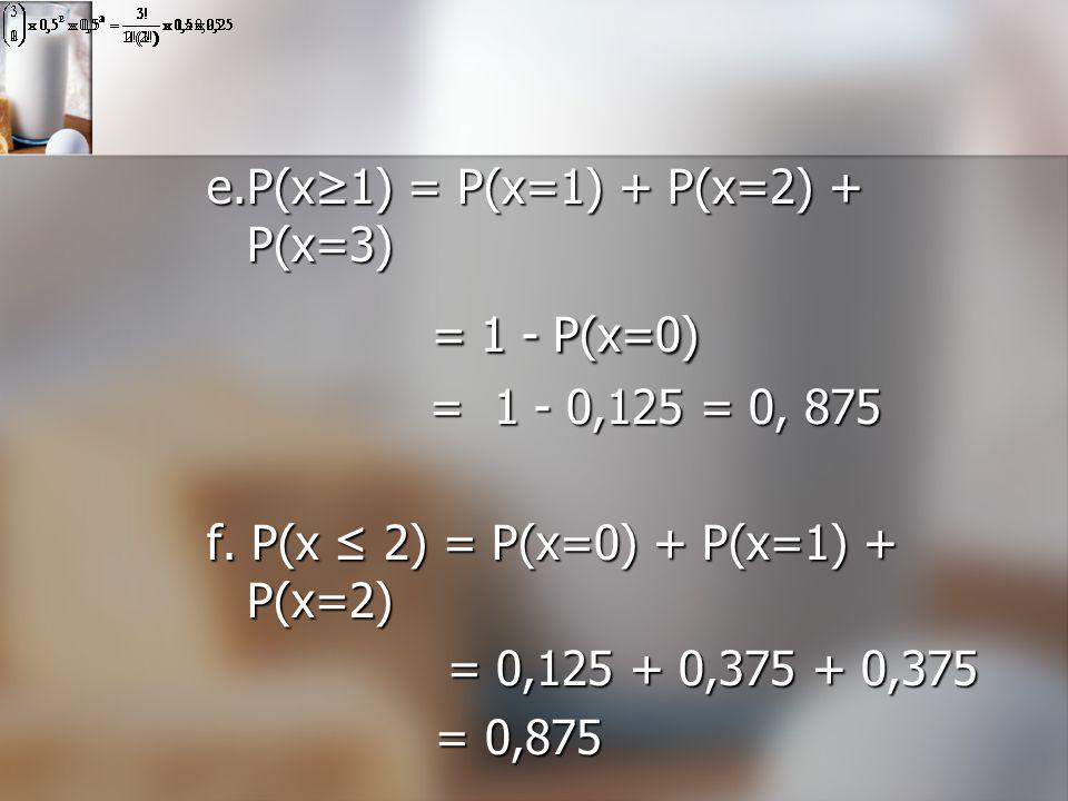 e.P(x≥1) = P(x=1) + P(x=2) + P(x=3) = 1 - P(x=0) = 1 - P(x=0) = 1 - 0,125 = 0, 875 = 1 - 0,125 = 0, 875 f. P(x ≤ 2) = P(x=0) + P(x=1) + P(x=2) = 0,125
