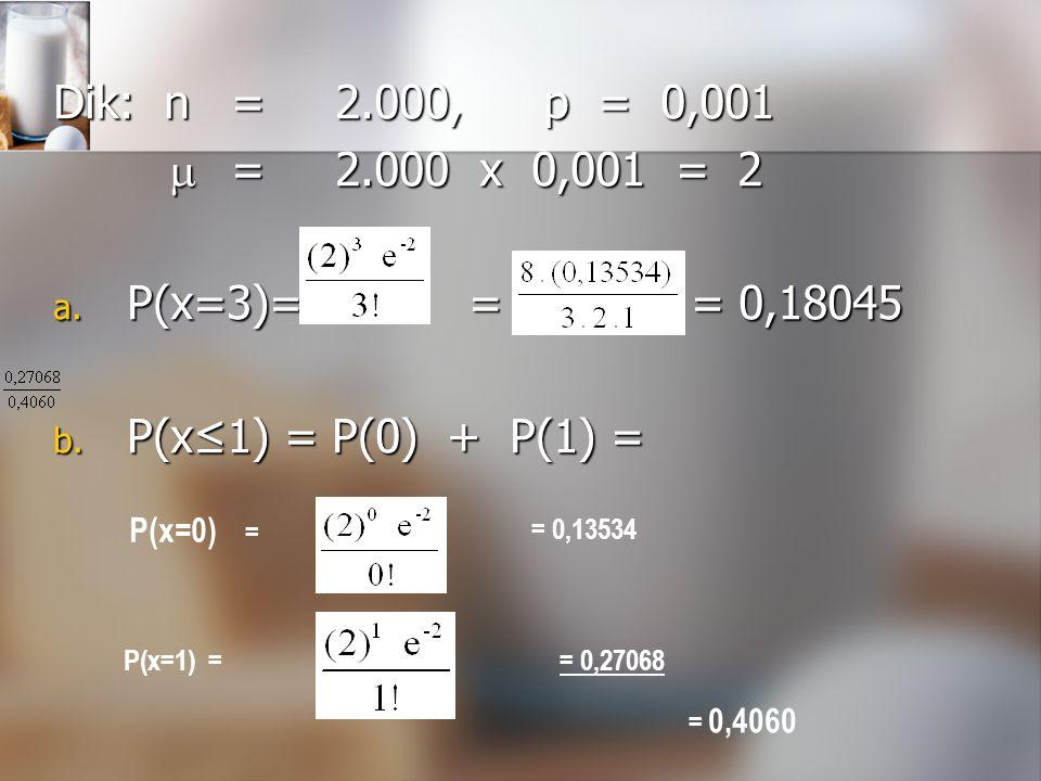 Dik: n=2.000,p = 0,001  =2.000 x 0,001 = 2  =2.000 x 0,001 = 2 a. P(x=3)= = = 0,18045 b. P(x≤1) = P(0) + P(1) = P(x=0) = = 0,13534 P(x=1) = = 0,4060