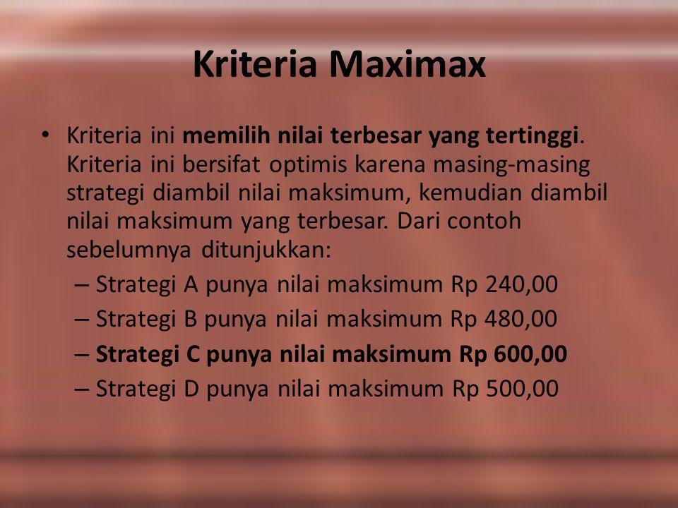 Kriteria Maximax Kriteria ini memilih nilai terbesar yang tertinggi. Kriteria ini bersifat optimis karena masing-masing strategi diambil nilai maksimu
