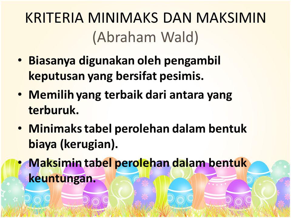 KRITERIA MINIMAKS DAN MAKSIMIN (Abraham Wald) Biasanya digunakan oleh pengambil keputusan yang bersifat pesimis. Memilih yang terbaik dari antara yan