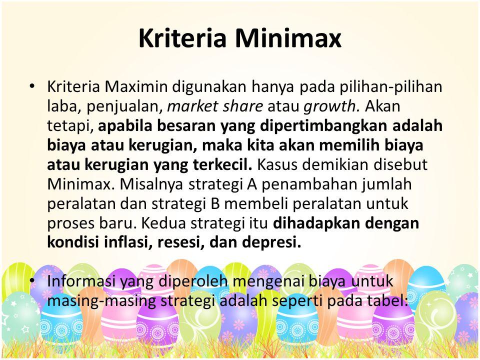 Kriteria Minimax Kriteria Maximin digunakan hanya pada pilihan-pilihan laba, penjualan, market share atau growth. Akan tetapi, apabila besaran yang di