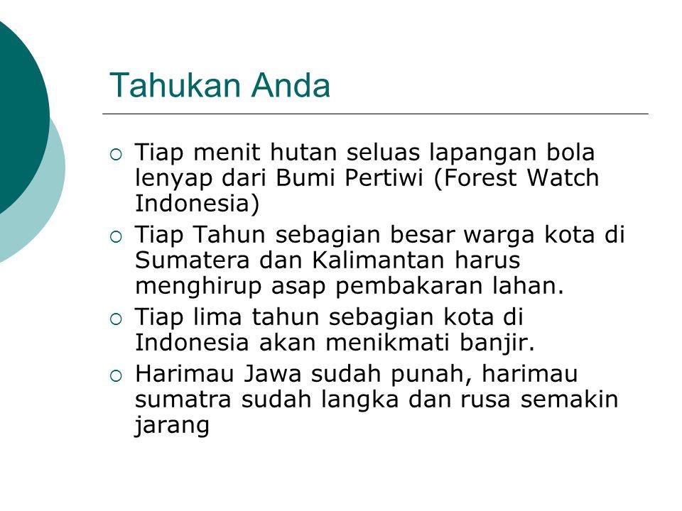 Tahukan Anda  Tiap menit hutan seluas lapangan bola lenyap dari Bumi Pertiwi (Forest Watch Indonesia)  Tiap Tahun sebagian besar warga kota di Sumatera dan Kalimantan harus menghirup asap pembakaran lahan.