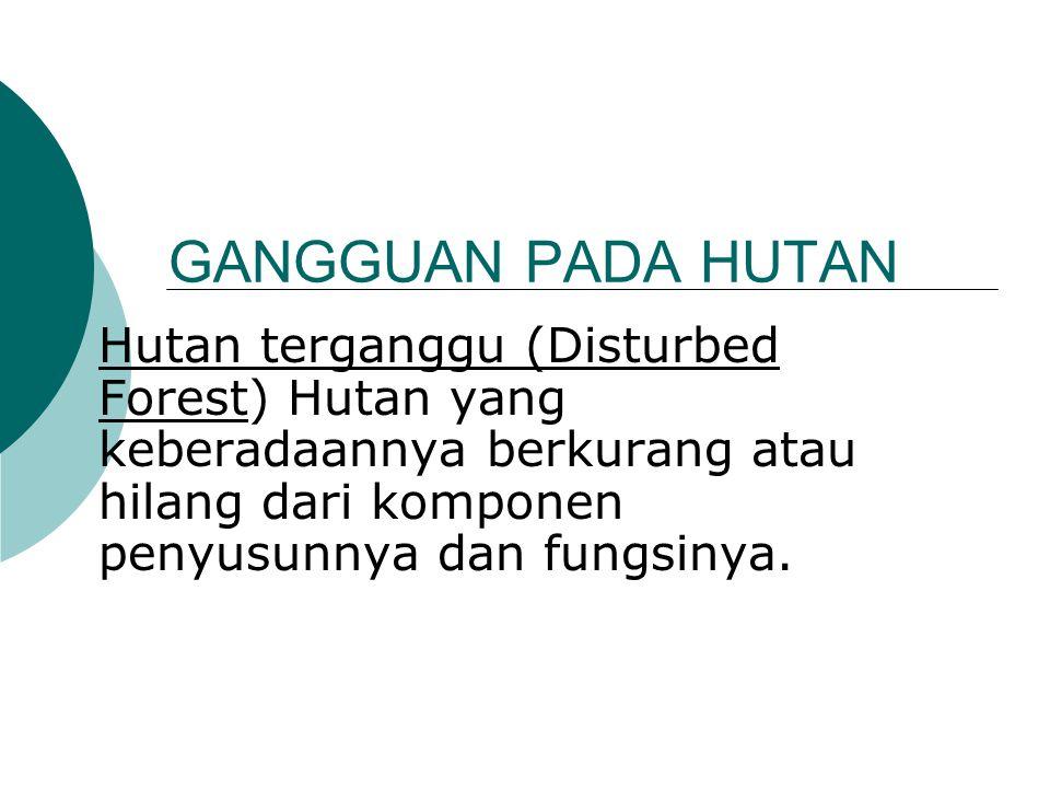 GANGGUAN PADA HUTAN Hutan terganggu (Disturbed Forest) Hutan yang keberadaannya berkurang atau hilang dari komponen penyusunnya dan fungsinya.
