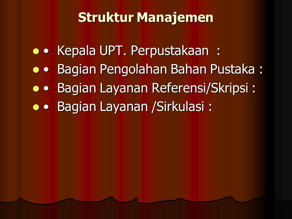 Struktur Manajemen Kepala UPT.Perpustakaan : Kepala UPT.