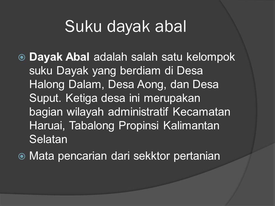Suku dayak abal  Dayak Abal adalah salah satu kelompok suku Dayak yang berdiam di Desa Halong Dalam, Desa Aong, dan Desa Suput. Ketiga desa ini merup