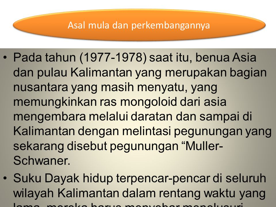 Sejarah Dayak pada masa kini Senjata Sukubangsa Dayak Totok Bakakak (kode) yang umum dimengerti Sukubangsa Dayak Tradisi Penguburan Macam Suku Dayak