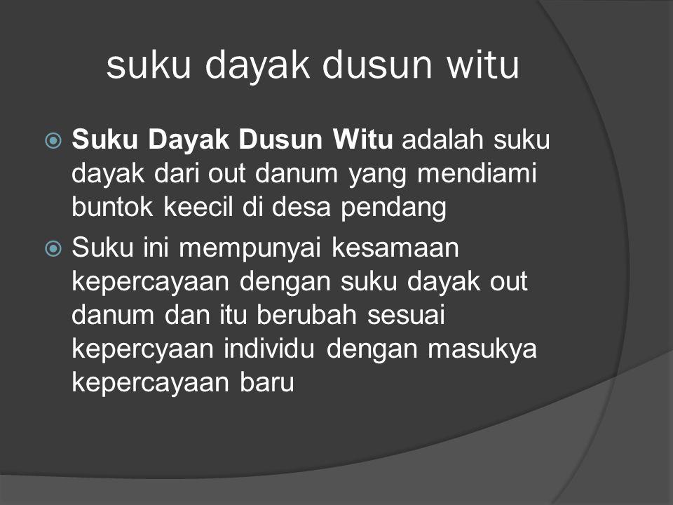 suku dayak dusun witu  Suku Dayak Dusun Witu adalah suku dayak dari out danum yang mendiami buntok keecil di desa pendang  Suku ini mempunyai kesama