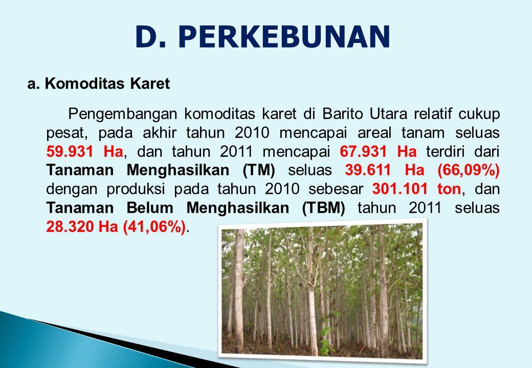 a. Komoditas Karet Pengembangan komoditas karet di Barito Utara relatif cukup pesat, pada akhir tahun 2010 mencapai areal tanam seluas 59.931 Ha, dan