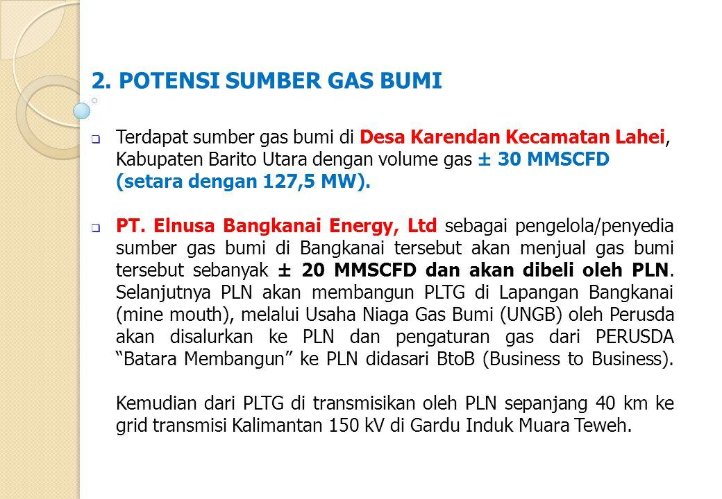2. POTENSI SUMBER GAS BUMI  Terdapat sumber gas bumi di Desa Karendan Kecamatan Lahei, Kabupaten Barito Utara dengan volume gas ± 30 MMSCFD (setara d