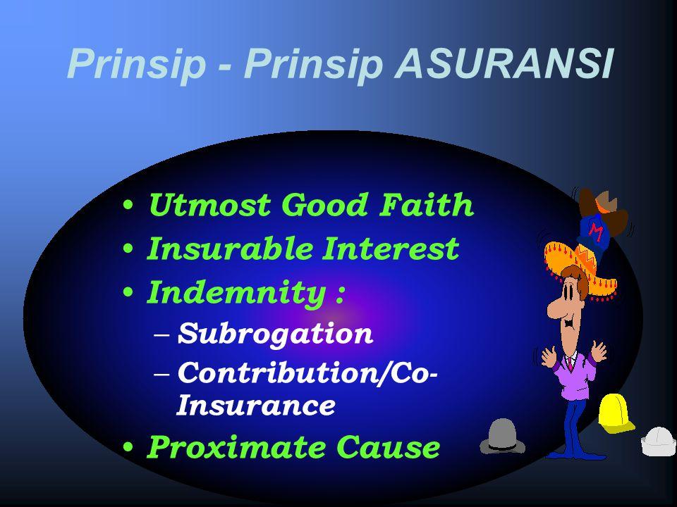 Prinsip - Prinsip ASURANSI Utmost Good Faith Insurable Interest Indemnity : – Subrogation – Contribution/Co- Insurance Proximate Cause