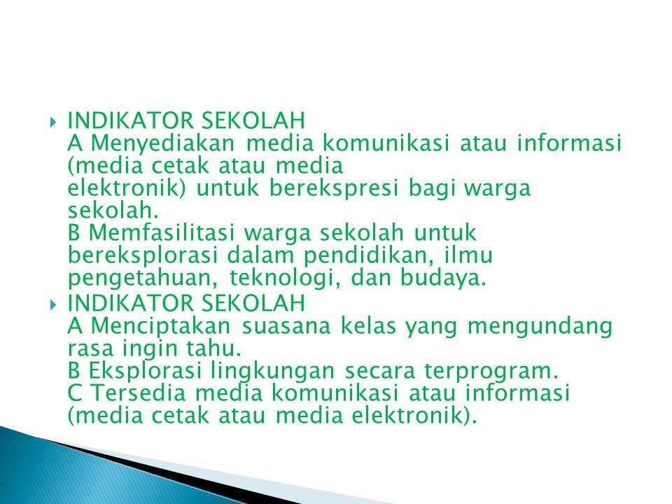  INDIKATOR SEKOLAH A Menyediakan media komunikasi atau informasi (media cetak atau media elektronik) untuk berekspresi bagi warga sekolah. B Memfasil