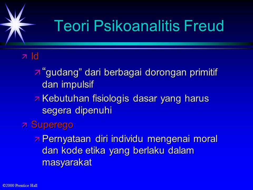 ©2000 Prentice Hall Teori Psikoanalitis Freud ä Berperan dalam menjaga agar individu tersebut memuaskan kepuasan dengan cara-cara yang dapat diterima masyarakat.