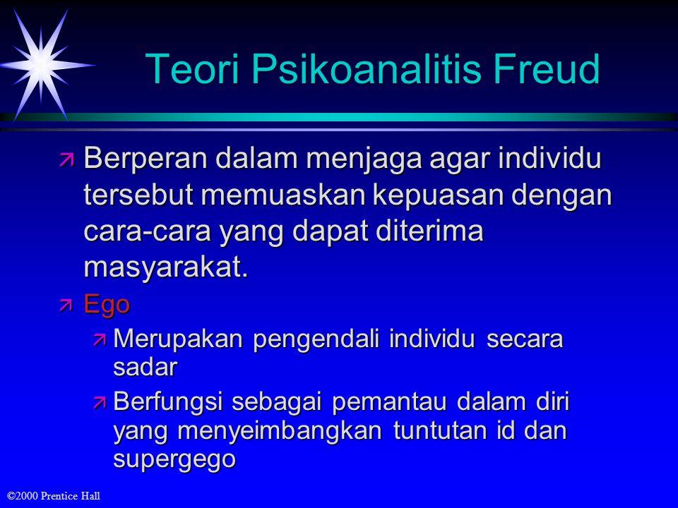 ©2000 Prentice Hall Teori Psikoanalitis Freud ä Berperan dalam menjaga agar individu tersebut memuaskan kepuasan dengan cara-cara yang dapat diterima