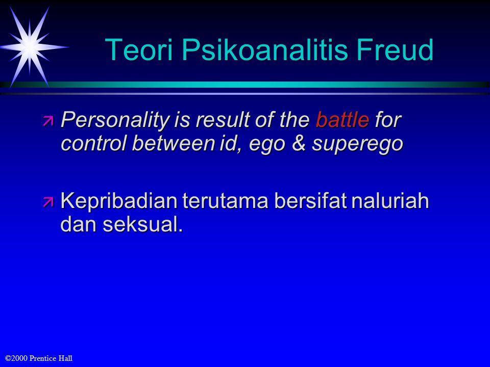 ©2000 Prentice Hall Teori Psikoanalitis Freud ä Personality is result of the battle for control between id, ego & superego ä Kepribadian terutama bers
