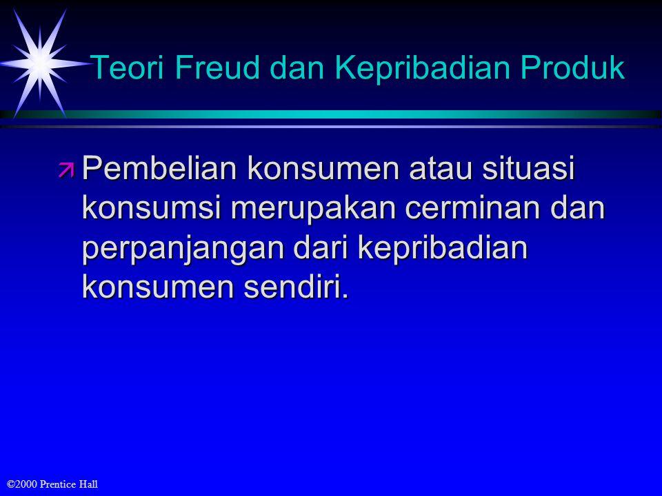 ©2000 Prentice Hall Teori Freud dan Kepribadian Produk ä Pembelian konsumen atau situasi konsumsi merupakan cerminan dan perpanjangan dari kepribadian