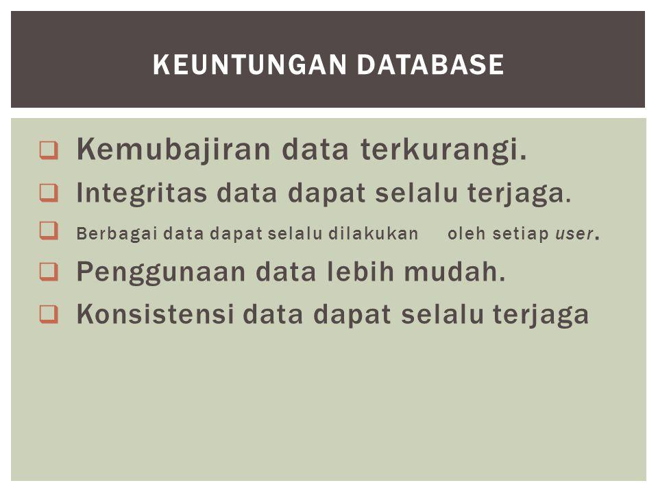  Kemubajiran data terkurangi.  Integritas data dapat selalu terjaga.  Berbagai data dapat selalu dilakukan oleh setiap user.  Penggunaan data lebi