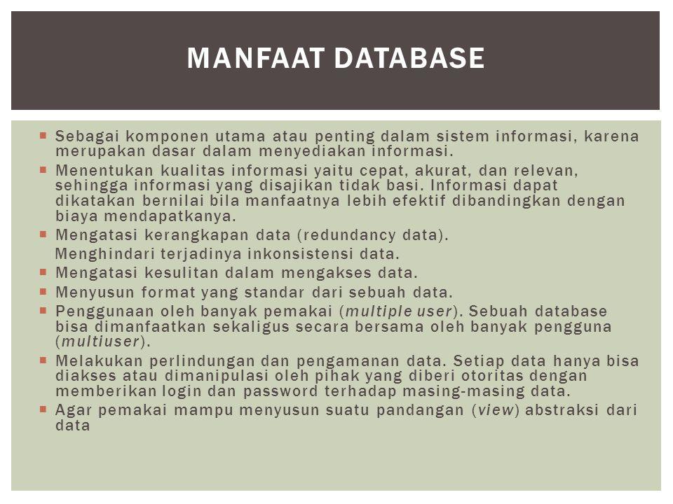  Sebagai komponen utama atau penting dalam sistem informasi, karena merupakan dasar dalam menyediakan informasi.  Menentukan kualitas informasi yait