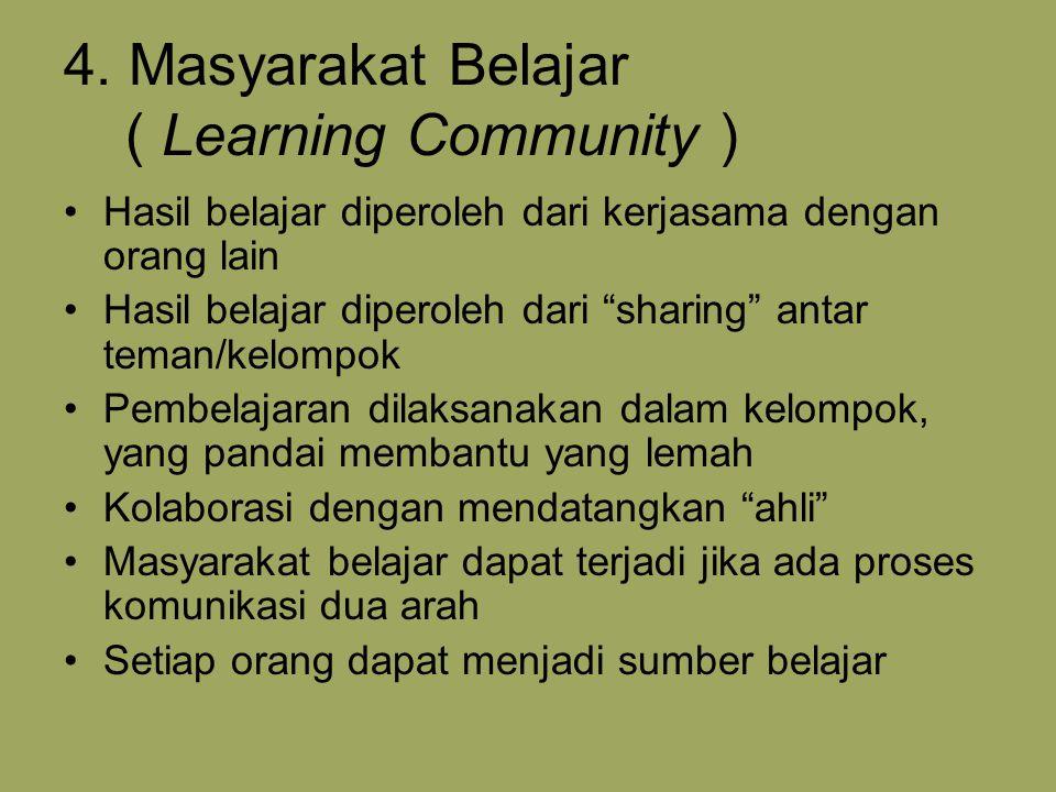 "4. Masyarakat Belajar ( Learning Community ) Hasil belajar diperoleh dari kerjasama dengan orang lain Hasil belajar diperoleh dari ""sharing"" antar tem"