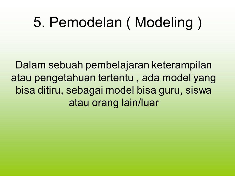 5. Pemodelan ( Modeling ) Dalam sebuah pembelajaran keterampilan atau pengetahuan tertentu, ada model yang bisa ditiru, sebagai model bisa guru, siswa