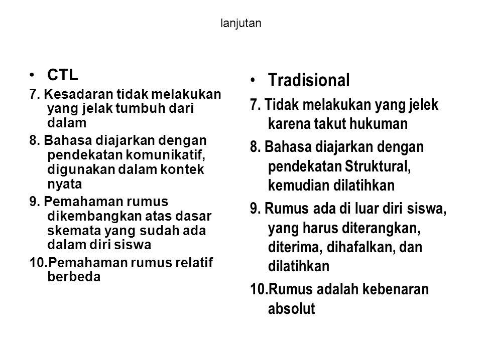 lanjutan CTL 7. Kesadaran tidak melakukan yang jelak tumbuh dari dalam 8. Bahasa diajarkan dengan pendekatan komunikatif, digunakan dalam kontek nyata