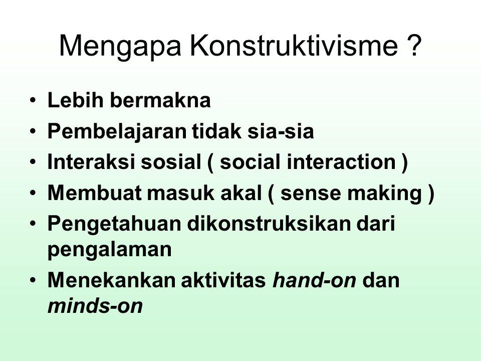 Mengapa Konstruktivisme ? Lebih bermakna Pembelajaran tidak sia-sia Interaksi sosial ( social interaction ) Membuat masuk akal ( sense making ) Penget