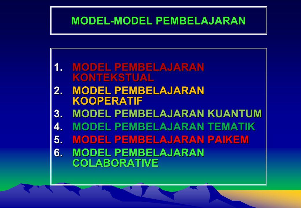 MODEL-MODEL PEMBELAJARAN 1.MODEL PEMBELAJARAN KONTEKSTUAL 2.MODEL PEMBELAJARAN KOOPERATIF 3.MODEL PEMBELAJARAN KUANTUM 4.MODEL PEMBELAJARAN TEMATIK 5.