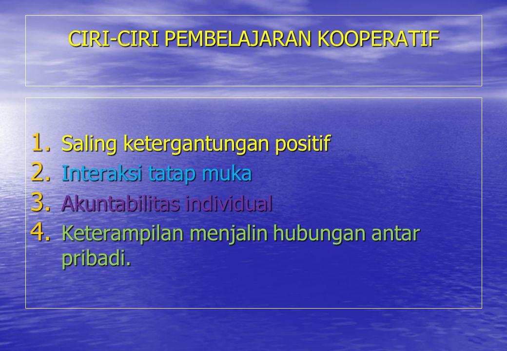 CIRI-CIRI PEMBELAJARAN KOOPERATIF 1. Saling ketergantungan positif 2. Interaksi tatap muka 3. Akuntabilitas individual 4. Keterampilan menjalin hubung