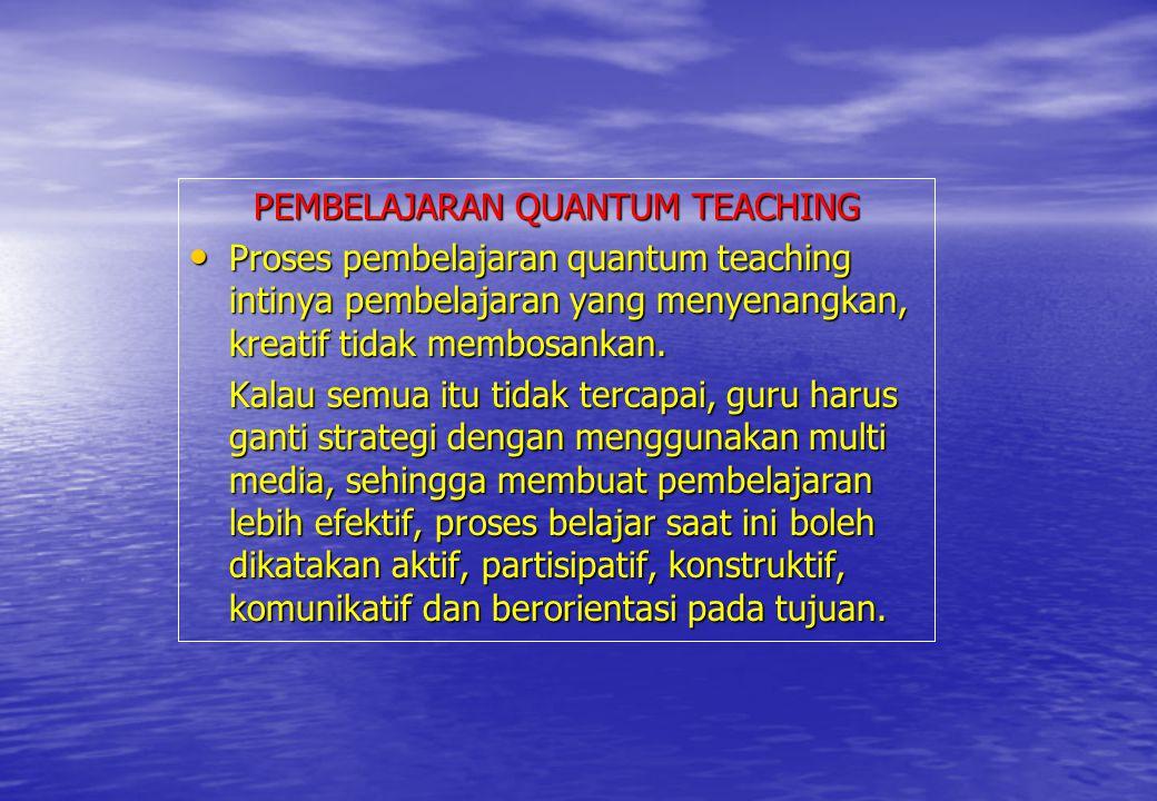 PEMBELAJARAN QUANTUM TEACHING Proses pembelajaran quantum teaching intinya pembelajaran yang menyenangkan, kreatif tidak membosankan. Proses pembelaja