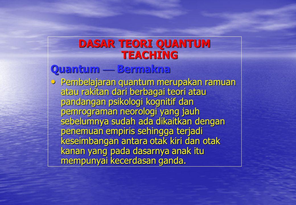 DASAR TEORI QUANTUM TEACHING Quantum  Bermakna Pembelajaran quantum merupakan ramuan atau rakitan dari berbagai teori atau pandangan psikologi kognit