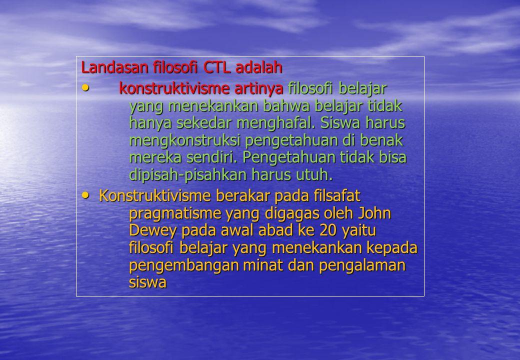 Landasan filosofi CTL adalah konstruktivisme artinya filosofi belajar yang menekankan bahwa belajar tidak hanya sekedar menghafal. Siswa harus mengkon