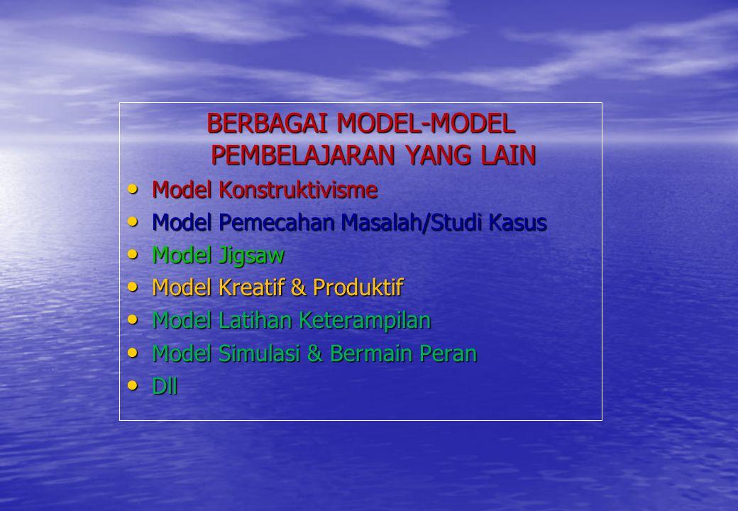 BERBAGAI MODEL-MODEL PEMBELAJARAN YANG LAIN Model Konstruktivisme Model Konstruktivisme Model Pemecahan Masalah/Studi Kasus Model Pemecahan Masalah/St