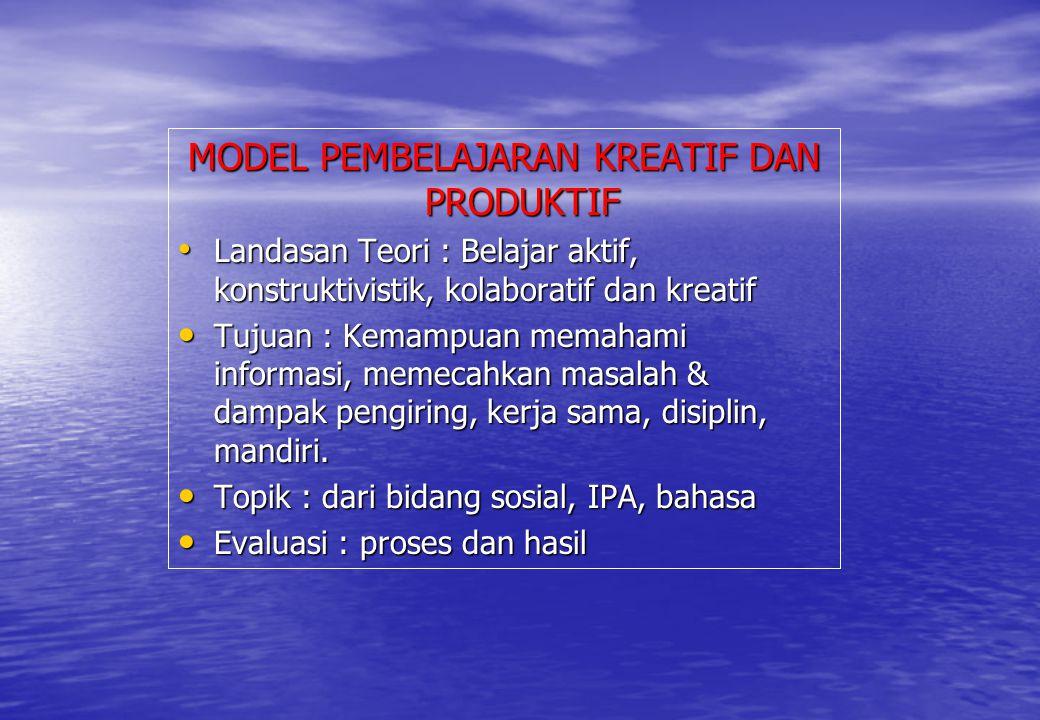 MODEL PEMBELAJARAN KREATIF DAN PRODUKTIF Landasan Teori : Belajar aktif, konstruktivistik, kolaboratif dan kreatif Landasan Teori : Belajar aktif, kon
