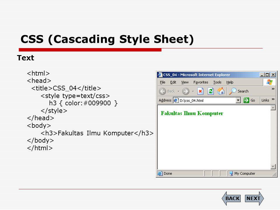 CSS (Cascading Style Sheet) Text CSS_04 h3 { color:#009900 } Fakultas Ilmu Komputer NEXTBACK