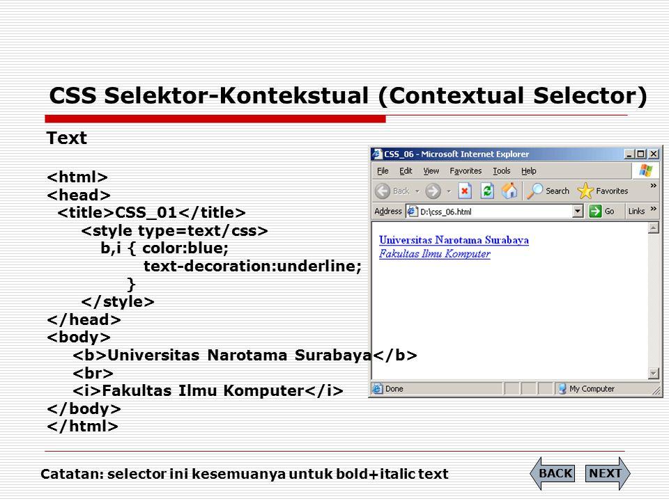 CSS (Cascading Style Sheet) Perbedaan CSS pewarisan (inheritance) dengan CSS Selektor-Kontekstual (Contextual Selector) !!.