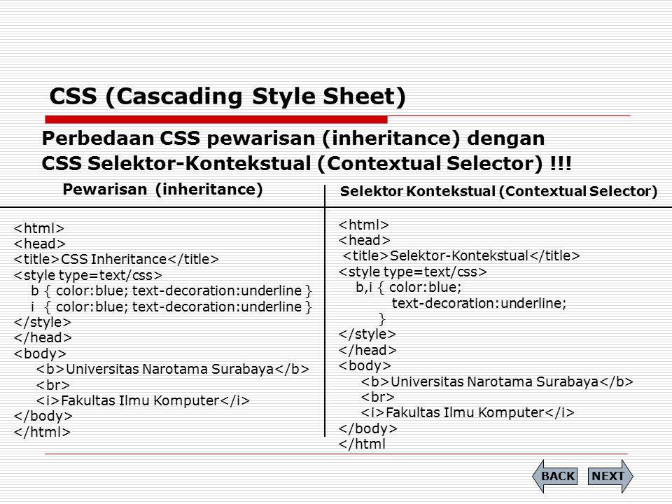 CSS (Cascading Style Sheet) Perbedaan CSS pewarisan (inheritance) dengan CSS Selektor-Kontekstual (Contextual Selector) !!! CSS Inheritance b { color: