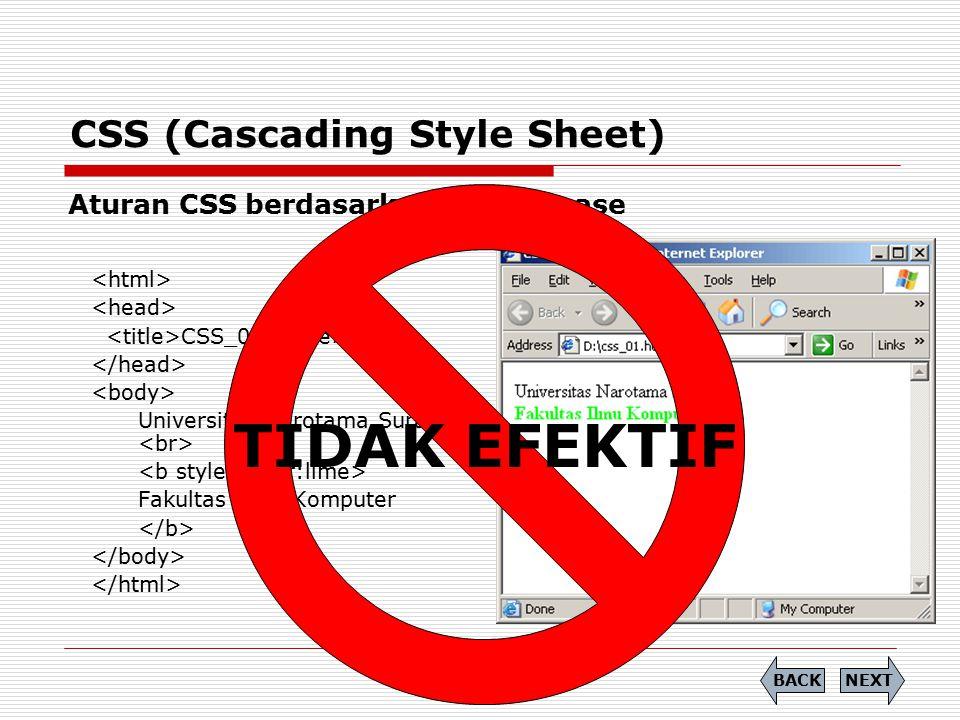 CSS (Cascading Style Sheet) Aturan CSS berdasarkan case to case CSS_01 Universitas Narotama Surabaya Fakultas Ilmu Komputer TIDAK EFEKTIF NEXTBACK