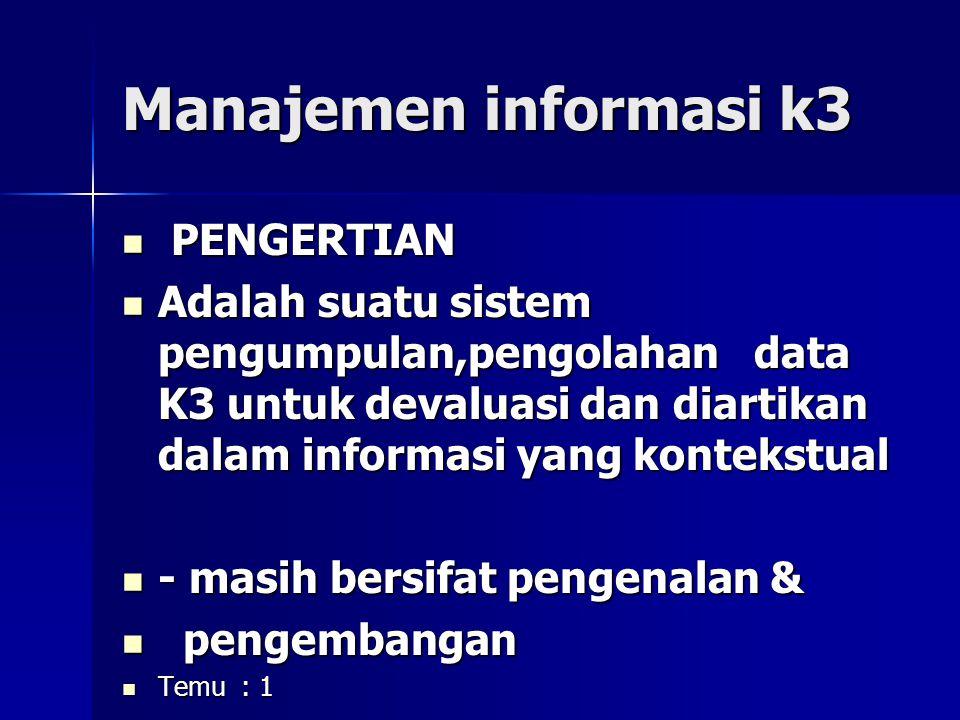 Manajemen informasi k3 PENGERTIAN PENGERTIAN Adalah suatu sistem pengumpulan,pengolahan data K3 untuk devaluasi dan diartikan dalam informasi yang kontekstual Adalah suatu sistem pengumpulan,pengolahan data K3 untuk devaluasi dan diartikan dalam informasi yang kontekstual - masih bersifat pengenalan & - masih bersifat pengenalan & pengembangan pengembangan Temu : 1 Temu : 1