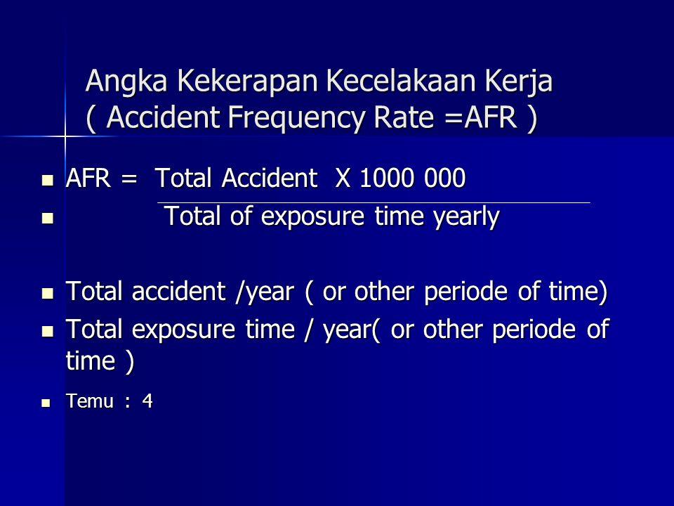 Auditing Data Keselamatan Kerja temu : 4 - Angka Kekerapan Kecelakaan Kerja - Angka Kekerapan Kecelakaan Kerja ( AFR = Accident Frequency Rate ) ( AFR = Accident Frequency Rate ) - Angka Keparahan Kecelakaan Kerja - Angka Keparahan Kecelakaan Kerja ( ASR = Accident Severity Rate ; ( ASR = Accident Severity Rate ; Ajusted Severity Rate ) Ajusted Severity Rate ) - T – Safe - Score - T – Safe - Score - Sistim Estimasi Biaya ( Estimated Cost - Sistim Estimasi Biaya ( Estimated Cost System ) System ) - Indikator Kinerja K3 / OHS Performance - Indikator Kinerja K3 / OHS Performance Indicator ( PI ) Indicator ( PI )