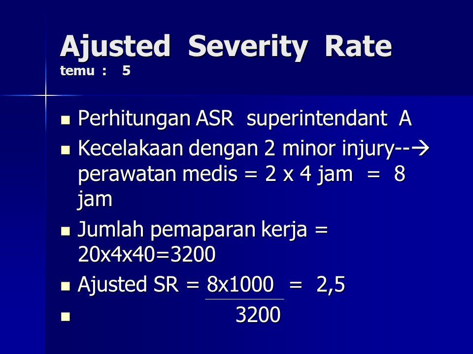 Tugas Rumah temu : 5 Tugas Rumah temu : 5 AJUSTED SEVERITY RATE AJUSTED SEVERITY RATE Contoh perhitungan Contoh perhitungan Superintendant A mengawasi 20 tenaga kerja.