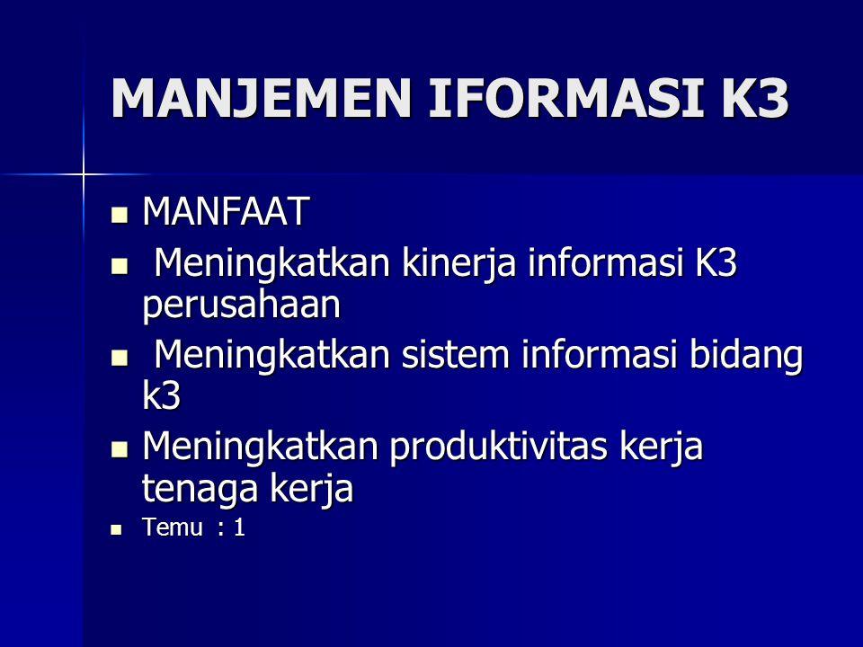 MANJEMEN IFORMASI K3 MANFAAT MANFAAT Meningkatkan kinerja informasi K3 perusahaan Meningkatkan kinerja informasi K3 perusahaan Meningkatkan sistem informasi bidang k3 Meningkatkan sistem informasi bidang k3 Meningkatkan produktivitas kerja tenaga kerja Meningkatkan produktivitas kerja tenaga kerja Temu : 1 Temu : 1