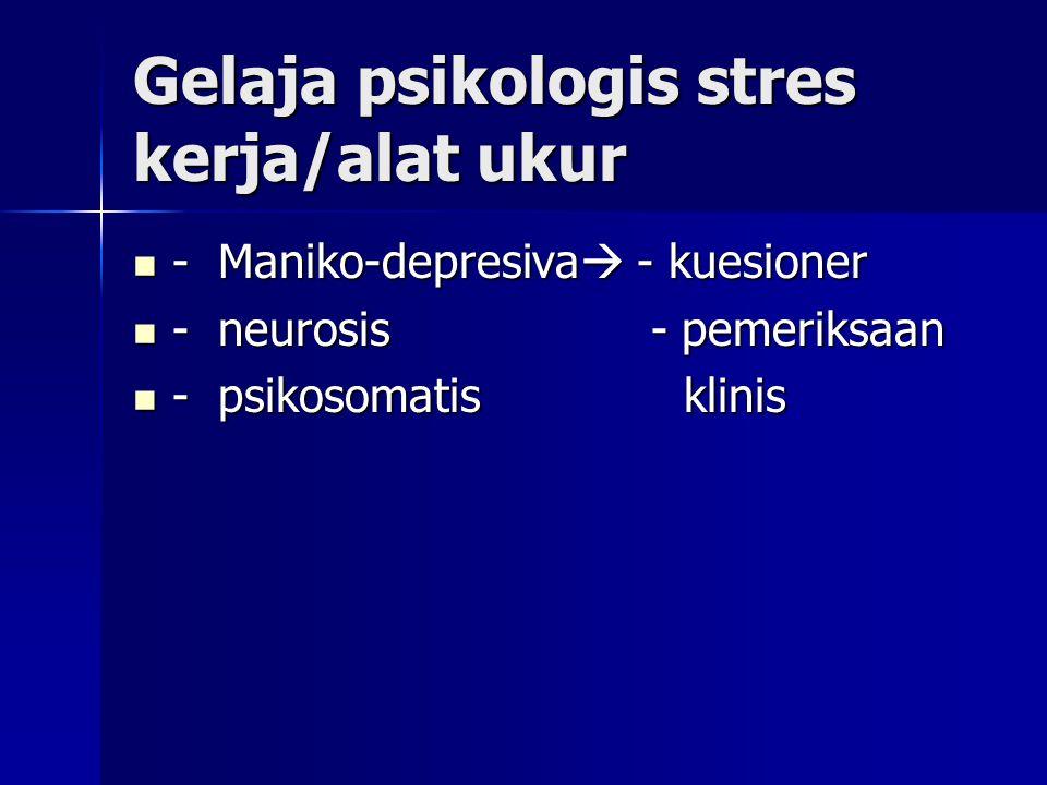 Gejala fisik stres kerja& alat ukur - kejang otot & sakit,pusing pegal --  Alat Ukur - kejang otot & sakit,pusing pegal --  Alat Ukur pingganggang/low back pain - klinis pingganggang/low back pain - klinis - vertigo,seloyongan - Kuesioner - vertigo,seloyongan - Kuesioner - gejala tract.digestivus,mules,kolik - gejala tract.digestivus,mules,kolik - gejala kardiovasmuler, berdebar- / - gejala kardiovasmuler, berdebar- / nyeri epigastrium nyeri epigastrium - gangguan bernafas/sesak nafas.