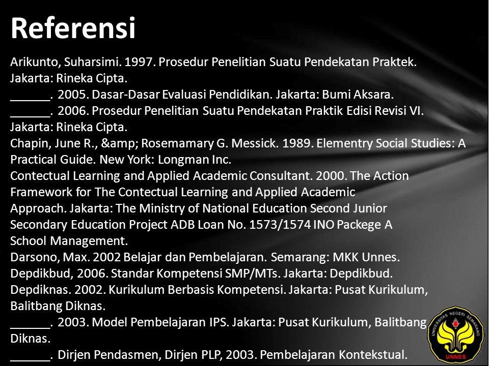 Referensi Arikunto, Suharsimi. 1997. Prosedur Penelitian Suatu Pendekatan Praktek.