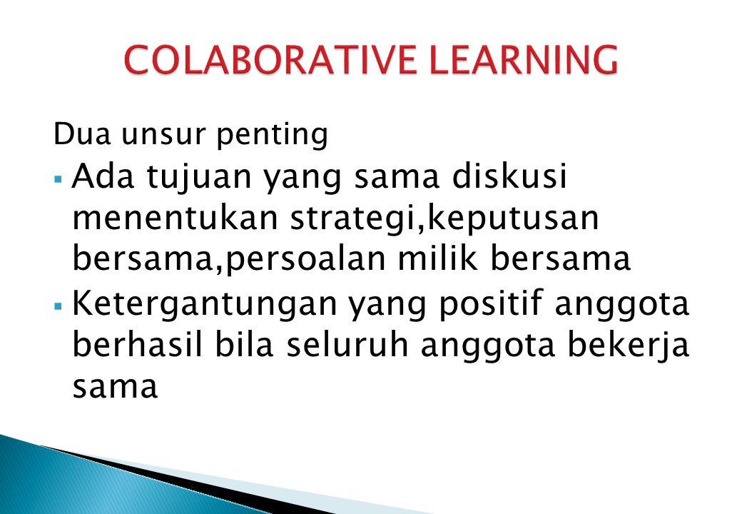 Dua unsur penting  Ada tujuan yang sama diskusi menentukan strategi,keputusan bersama,persoalan milik bersama  Ketergantungan yang positif anggota berhasil bila seluruh anggota bekerja sama