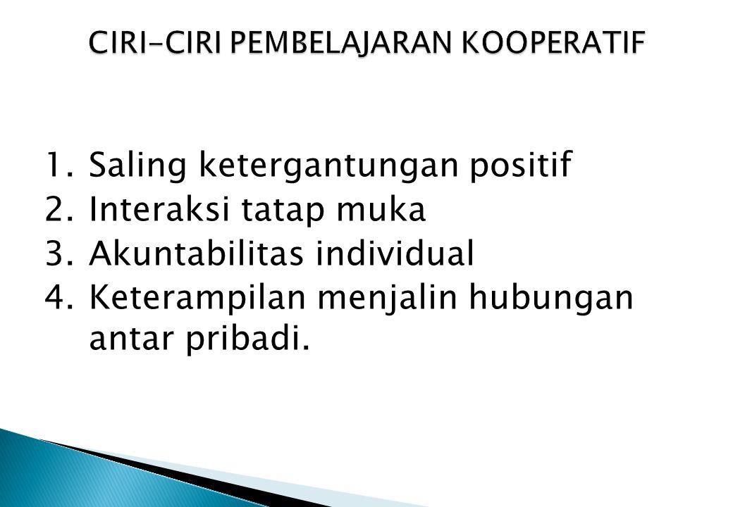 1.Saling ketergantungan positif 2.Interaksi tatap muka 3.Akuntabilitas individual 4.Keterampilan menjalin hubungan antar pribadi.